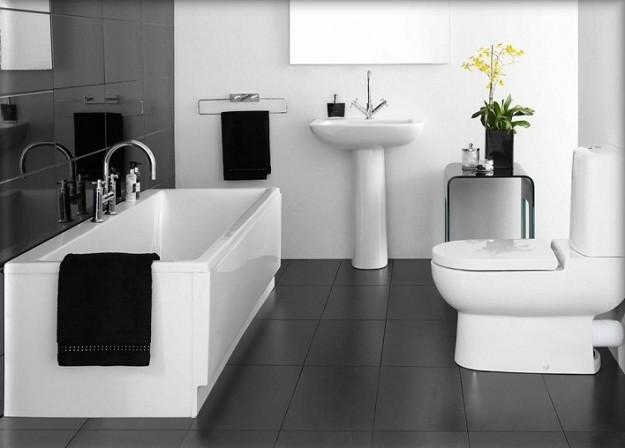 arredare un bagno in bianco e nero